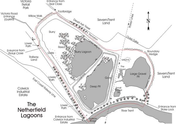Current day map of the Netherfield Lagoons Local Nature Reserve, Nottinghamshire