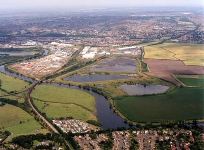 Aerial View of Netherfield Lagoons, Local Nature Reserve, Nottingham