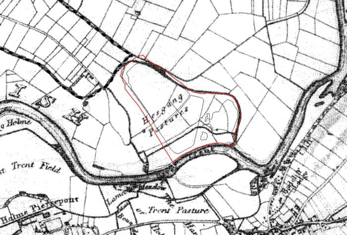 Historic map of Netherfield Lagoons